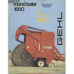 Gehl 1850 Tdc Round Baler Brochure