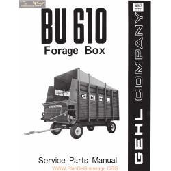 Gehl Bu610 Forage Box Service Parts Manual
