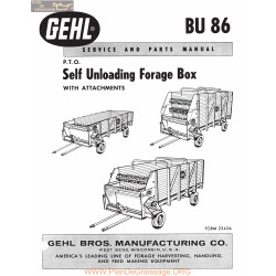 Gehl Bu86 Self Unloading Forage Box Service And Parts Manual