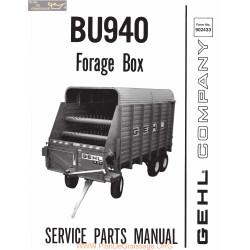Gehl Bu940 Forage Box Service Parts Manual