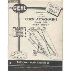 Gehl Ca84 Corn Attachment Instruction And Parts List