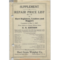 Hart Carter H461 1 May Repair Price List 1927