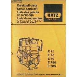 Hatz E 71 75 79 780 785 Spare Parts List Diesel