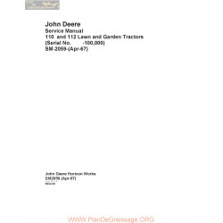 John Deere 110 112 Lawn And Garden Tractor Service Manual 1967 Sm2059