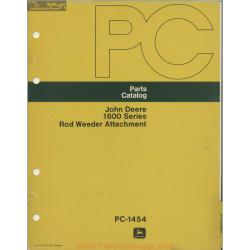 John Deere 1600 Rod Weeder Attachment Parts Catalog Pc 1454