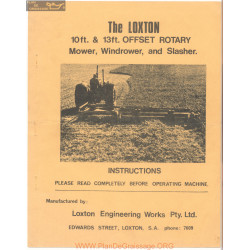 Loxton 10 Foot 13 Foot Offset Rotary Mower Wndrower And Slasher Instructions