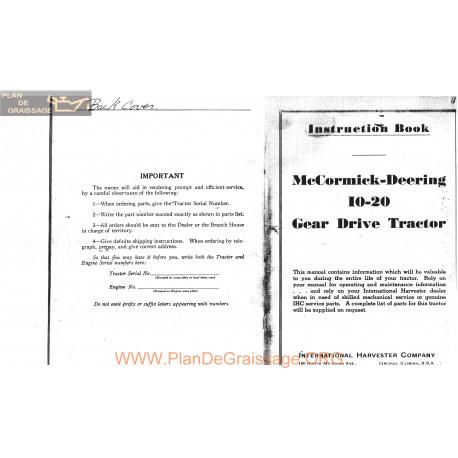 Mc Comick 10 20 Farmall Operators Manual