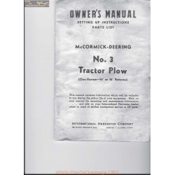 Mc Cormick Deering No 3 Tractor Plow Owners Manual Lr