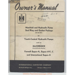 Mc Cornick 335 207 R91 Manifold And Hydraulic Pump Seal Ring And Gasket Package Owners Manual