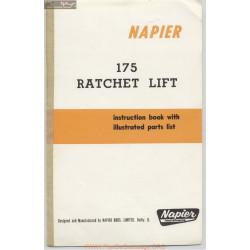 Napier 175 Ratchet Lift 175 10 69 Instruction Book Parts List
