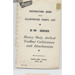 Napier Bw Series Heavy Duty Arched Toolbar Cultivators And Attachments Instruction Book Parts List Sp 10