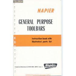 Napier General Purpose Toolbars Instruction Parts List
