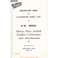 Napier Model Bw Series Heavy Duty Arched Toolbar Cultivators And Attachments Parts List