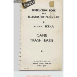 Napier Model Bz A Cane Trash Rake Instruction Book Parts List 107 108 5 73