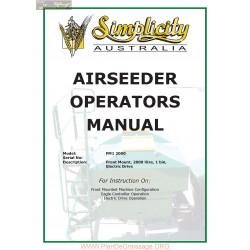 Napier Model Fm1 2000 Simplicity Airseeder Operators Manual