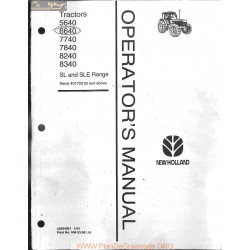 New Holland 5640 6640 7740 7840 8240 8340 Sl Sle Tractor Manual 1996