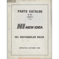 New Idea 551 Rectangular Baler Parts Catalog