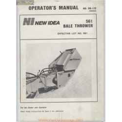 New Idea 561 Baler Thrower Operators Manual