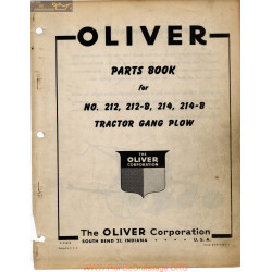 Oliver 212 214 Tractor Gang Plow Parts Book