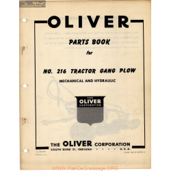 Oliver 216 Tractor Gang Plow Parts Book