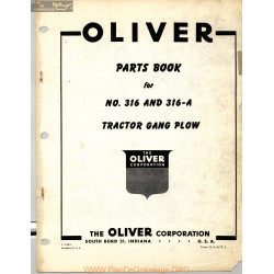 Oliver 316 316a Tractor Gang Plow Parts Book