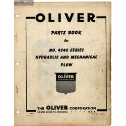Oliver 4240 Hydraulic Mechanical Plow Parts Book