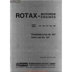 Rotax Motoren 125 150 151 165 185 Parts Liste 107 1976