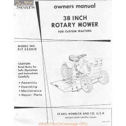 Sears 38 Inch Rotary Mower Deck Owners Manual
