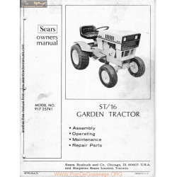 Sears St16 Garden Tractor Owners Manual 91725741