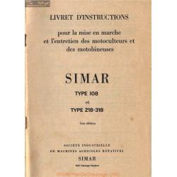 Simar 108 218 318 Motobineuse Motoculteur Livret Instructions