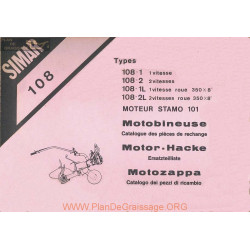Simar 108 Stamo 101 Motobineuse Catalogue Pieces Rechange