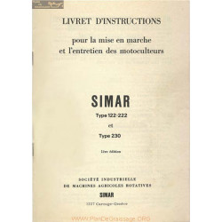Simar 122 222 230 Motoculteur Livret Instructions