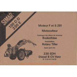 Simar 130 230 C D E Moteur F S 281 Motoculteur Catalogue Pieces Rechange