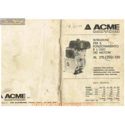 Acme 215 290 330 Moteur Instruction Fonctionement