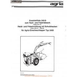 Agria 2400 Eclates Ersatzteilliste 240 8