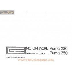 Gutbrod Puma 230 250 Ersatzteilliste