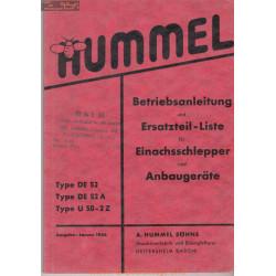 Hummel De 52 De 52a U 50 2z Manuel Entretien
