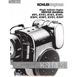Kohler Service Single Cylinder Kt91 Kt141 Kt161 K181 K241 K301 K321 K341 Manuel Entretien