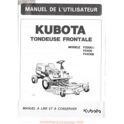 Kubota F2000 F2400 Manuel Utilisateur