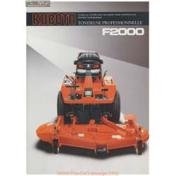 Kubota F2000 Fiche Information
