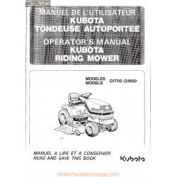 Kubota G1700 G1900 Manuel Utilisateur