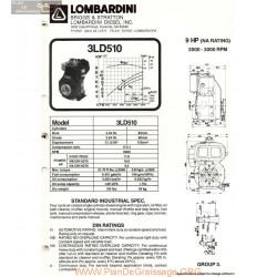 Lombardini 3 Ld 510 9hp 3000rpm Fiche Info