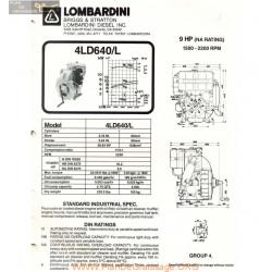 Lombardini 4 Ld 640 L 9hp 2200rpm Fiche Info