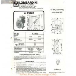 Lombardini 4 Ld 820 14hp 2600rpm Fiche Info