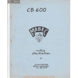 Mabec Cb600 Notice Manuel Entretien