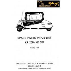 Messerschmitt Kr 200 201 Parts Manual