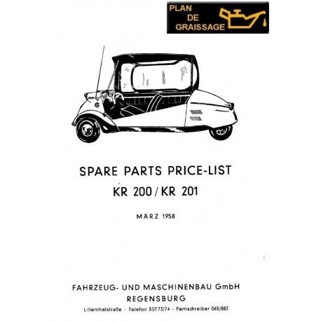 Messerschmitt Kr 200 201 Parts Manual - Plan de Graissage