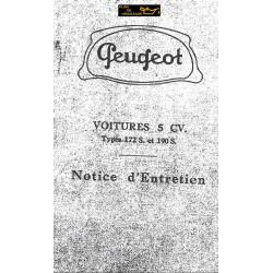 Peugeot 172 190 S 5cv Notice Entretien