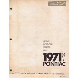 Pontiac Advance Order 1971