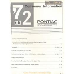 Pontiac Consumer Information Book 1972